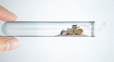 Portrait format. One of the main campaign images for the NRMM Stage V campaign. The imagery shows different examples of the equipment that lie within the scope of the new regulation. This version shows a digger representing the construction industry.